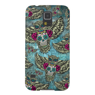Grunge Owls with sugar skulls Galaxy S5 Cases