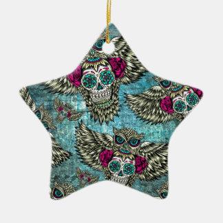 Grunge Owls with sugar skulls Ceramic Ornament