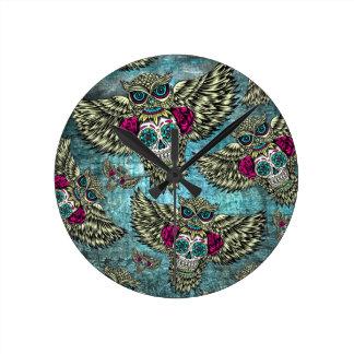Grunge Owls with sugar skulls Clocks