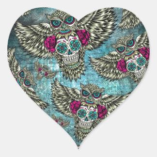 Grunge Owls with sugar skulls Heart Sticker