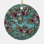 Grunge Owls with sugar skulls Ornaments