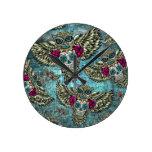 Grunge Owls with sugar skulls Round Clock