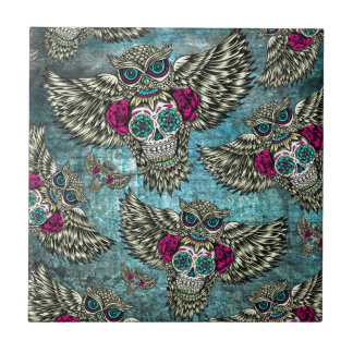 Grunge Owls with sugar skulls Tile