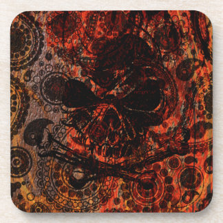 Grunge Paisley and Fire Skull and Crossbones Drink Coaster