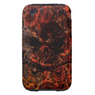 Grunge Paisley and Fire Skull and Crossbones iPhone 3 Tough Case