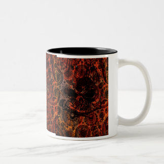 Grunge Paisley and Fire Skull and Crossbones Two-Tone Coffee Mug