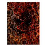Grunge Paisley and Fire Skull and Crossbones Post Cards