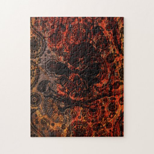 Grunge Paisley and Fire Skull and Crossbones Puzzle