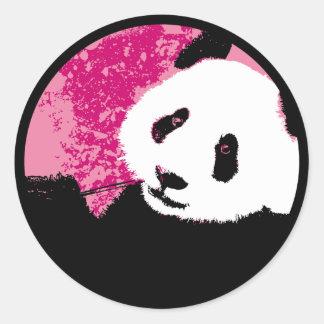 grunge panda. classic round sticker