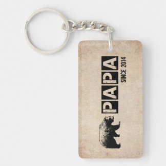 Grunge Papa Bear Since 2014, Black Double-Sided Rectangular Acrylic Keychain