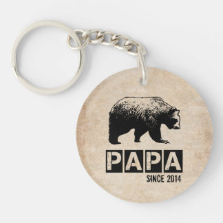 Grunge Papa Bear Since 2014, Black Double-Sided Round Acrylic Keychain