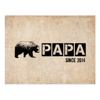 Grunge Papa Bear Since 2014, Black Postcard