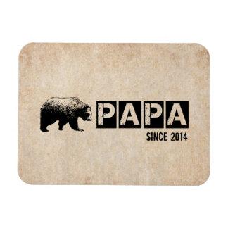 Grunge Papa Bear Since 2014, Black Rectangular Photo Magnet