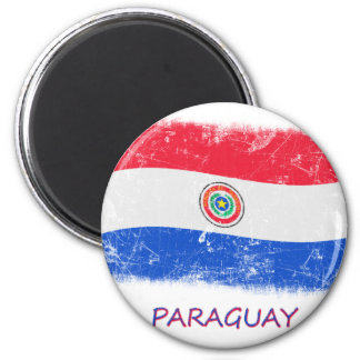 Grunge Paraguay Flag 2 Inch Round Magnet