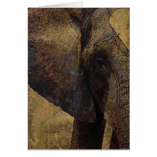 Grunge Parchment African Elephant Never Forget You Card