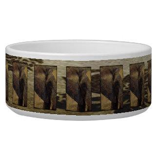 Grunge Parchment Majestic African Elephant Dog Water Bowls