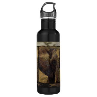 Grunge Parchment Majestic African Elephant 24oz Water Bottle
