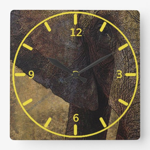 Grunge, Parchment Majestic African Elephant Square Wall Clock