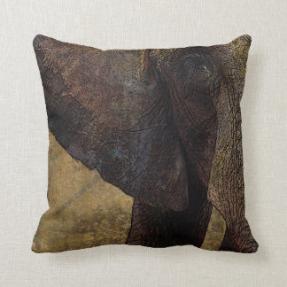Grunge, Parchment Majestic African Elephant Throw Pillow