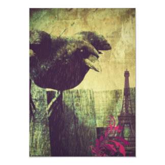 Grunge Paris Eiffel tower halloween Black Crow Card