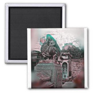 Grunge Paris Grave 2 Inch Square Magnet