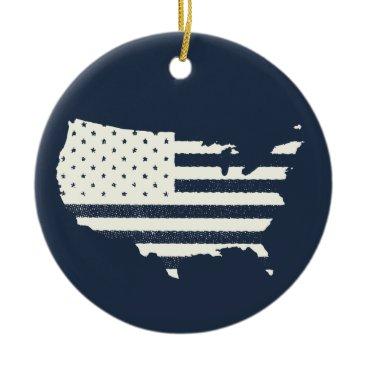 Grunge Patriotic American Flag Ceramic Ornament
