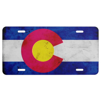 Grunge Patriotic Colorado State Flag License Plate