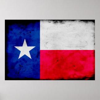 Grunge Patriotic Texas State Flag Poster