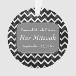 Grunge Pattern Black and White Chevron Bar Mitzvah Ornament