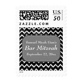 Grunge Pattern Black and White Chevron Bar Mitzvah Postage