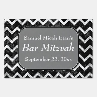 Grunge Pattern Black and White Chevron Bar Mitzvah Yard Sign