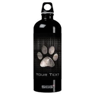 Grunge Paw Print Aluminum Water Bottle