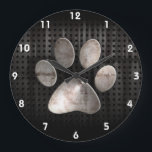 """Grunge Paw Print Large Clock<br><div class=""""desc"""">Cool grunge industrial metal look paw print pawprint pawprints prints design. Great for gifts! Available on tee shirts, smart phone cases, mousepads, keychains, posters, cards, electronic covers, computer laptop / notebook sleeves, caps, mugs, and more! Visit our site for a custom gift case for Samsung Galaxy S3, iphone 5, HTC...</div>"""