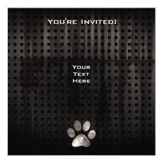 Grunge Paw Print Personalized Invitations