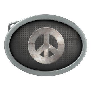 Grunge Peace Sign Oval Belt Buckle