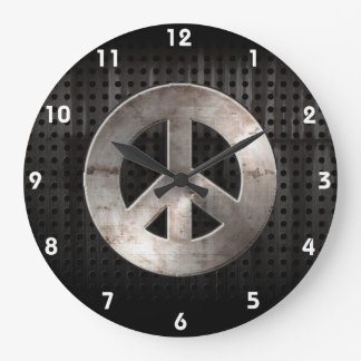 Grunge Peace Sign Round Wall Clock
