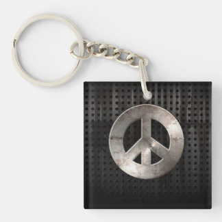 Grunge Peace Sign Keychain