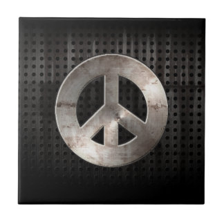 Grunge Peace Sign Tile