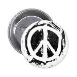 Grunge Peace Symbol Button