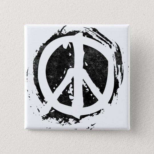Grunge Peace Symbol Pinback Button