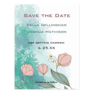 Grunge Peach Flowers on Aqua Save the Date Postcard