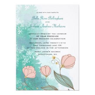 Grunge Peach Flowers on Aqua Wedding Invitation