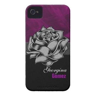 Grunge personalizado Blackberry color de rosa iPhone 4 Carcasas
