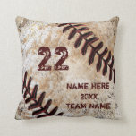 "Grunge Personalized Baseball Gifts for Players Throw Pillow<br><div class=""desc"">Cool Grunge Personalized Baseball Gifts for Players and Personalized Baseball Team Gifts. Type in his Jersey Number, Name, Year and Team Name or Your Text or just delete any of the temporary text. Fantastic baseball senior night gifts for kids to adult. For HELP or DESIGN Changes call Rod or Linda...</div>"