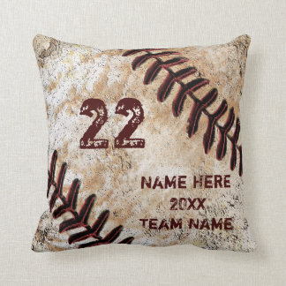 Grunge Personalized Baseball Gifts for Players Throw Pillow
