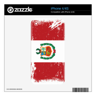 Grunge Peru Flag Decals For iPhone 4S
