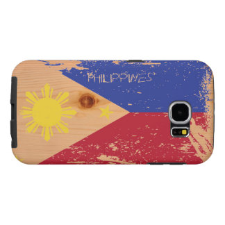 Grunge Philippines Flag on Wood Samsung Galaxy S6 Cases