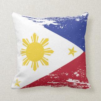 Grunge Philippines Flag Throw Pillow