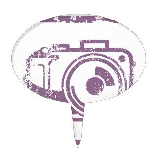 Grunge Photo Camera Stamp Cake Topper