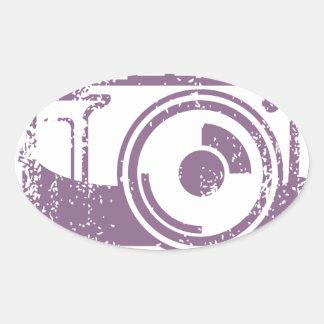 Grunge Photo Camera Stamp Oval Sticker